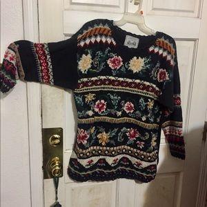 Sweaters - Vintage tapestry on black sweater-crochet trim.